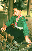 Black Thai lady weaving, Laos